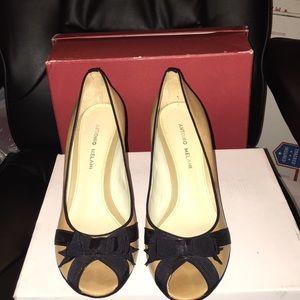 Beautiful tan and black peep toe heels